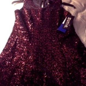 Zunie SequinEmbellished Girls Holiday Dress Maroon